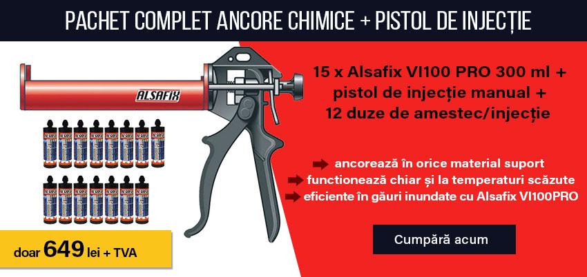 Pachet complet ancore chimice + pistol de injecție